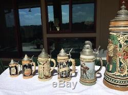10 Antique German Beer Steins