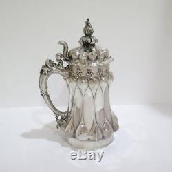 11 European Silver Gilded Interior Antique German Medieval-Style Beer Mug/Stein