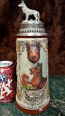 11+T Orig Thewalt German Beer Stein 3D POLICE SERVICE DOG & Figural Pewter LID