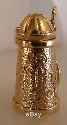 14K Gold 3D German Bier Beer Stein Pearl Inside Charm Pendant 7.6 gr