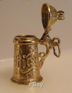 14K Gold 3D Pearl Top German Bier Beer Stein Charm Pendant 5 gr