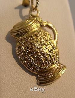 14K Gold Very Ornate German Beer Stein Charm Pendant 5,1 gr