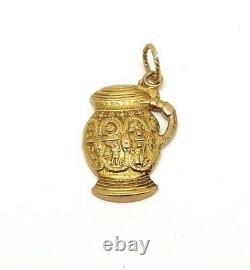 14K Gold Very Ornate German Beer Stein Charm Pendant 5 Grams