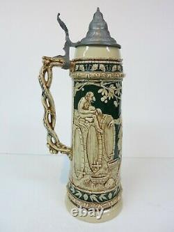 16 3/4 Pottery German Beer Stein Drunk Cavaliers Barrels Monkey (Mettlach Era)