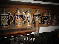 16 Vintage German Beer Steins Made In Germany