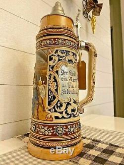 17 Liter Matthias Girmscheid German Beer Stein, Woman and a Suitor, 3.0L, LE