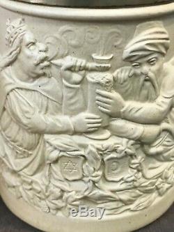 1849 Monk & Devil Jew & Turk German Relief Lidded Beer Stein