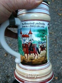 1899-1902 Antique Regimental Beer Stein 4th German Regiment Lithophane Soldier