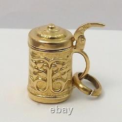 18K Gold 3D Opening German Beer Bier Stein Charm Pendant 2.7gr