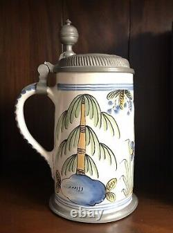 18th Century Pewter Mounted Antique German Faience Tankard/Beer Stein-Bayreuther