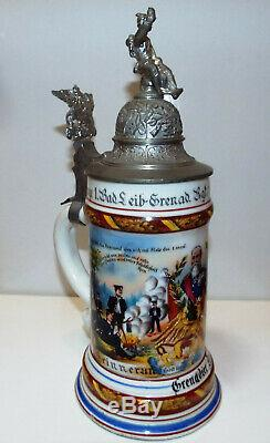 1902 German Regimental Beer Stein withLithograph