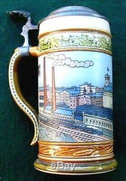 1906 Quilmes Cerveceria Argentina lidded German Beer Stein by Villeroy Mettlach
