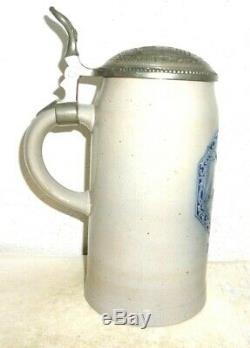 1926 Konsum Genossenschaft Munich salt-glazed Masskrug lidded German Beer Stein