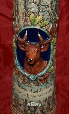 1957 2 Liter German Beer Stein 18 Tall 5 Wide Deer Huge