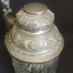 19 Century German Etched Glass & Pewter Beer Stein Gnome, Deer in Forest