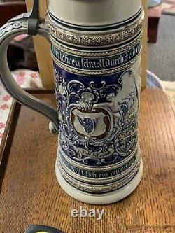 19thC Antique German Bicycle Rider Blue Stoneware Beer Stein Exc 3L