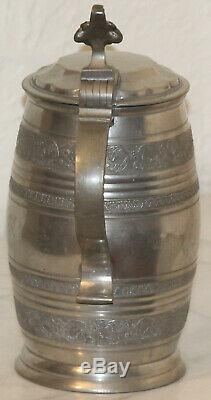 1L German beer Stein solid pewter 1800s Barrel Shaped with Foral Antique