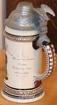 1/2L 1893 1895 German Regimental Railway / Train beer stein Antique