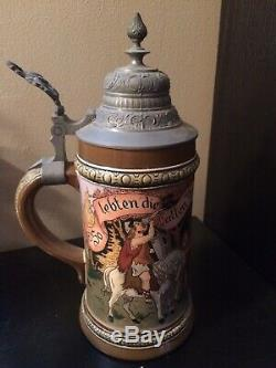 1/2L Hauber And Reuther Beer Stein 429 Early Germans