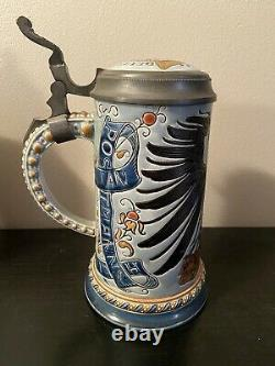 1/2L Mettlach Etched Beer Stein German Postal Eagle 1856