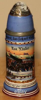 1/2L Old Antique German Regimental Porcelain Artillery beer stein + lithophane