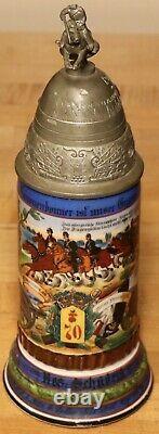 1/2L Old Antique German Regimental Porcelain Cavalry Cannon beer stein + litho