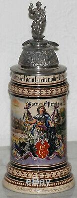 1/2L Old Antique German Regimental Railway / Train beer stein Merkelbach Wick