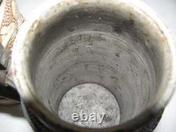 2 Early Antique German Beer Steins, Lidded Pewter Hinged Tops, Salt Glaze Pottery