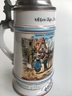 2 Very Rare German Reservistenkrug regimental Beer Stein 1894-97 Augsburg