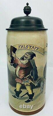 3L Mettlach 1526 98 Falstaff Antique German Beer Stein 14 Sir John Shakespeare