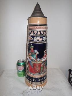 4L huge 22 tall German Beer Stein with Pewter Lid Tavern Scenes LM100