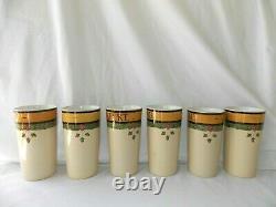 6 Antique Villeroy & Boch Mettlach Beer Beaker Tumbler Stein Mug German Cities
