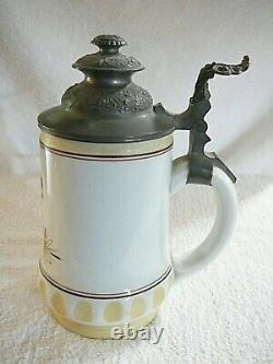 8 Lithophane Beer Stein Early 1900's Antique German Porcelain Octoberfest Dance