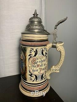 ANTIQUE 19th CENTURY ADOLF DIESINGER GERMAN BEER STEIN 1/2 L RARE HANDPAINTED