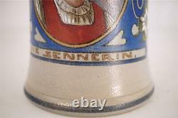 ANTIQUE GERMAN ART NOUVEAU MERKELBACH & WICK BEER STEIN DIE SENNERIN bl