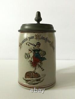 ANTIQUE GERMAN BEER STEIN MUG Brauerei zum Münchner Kindl 0.4L Great cond