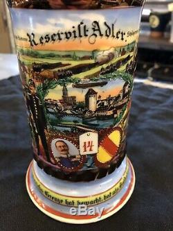 ANTIQUE GERMAN REGIMENTAL LITHOPANE BEER STEIN -Very Old