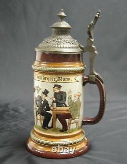 A Late 19th c. German HR Hauber & Reuther #182 Lidded Beer Stein Mettlach era