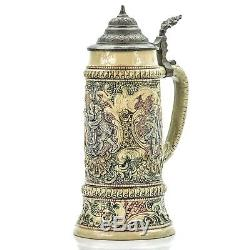 Adolph Diesinger 33 Art Nouveau Antique German Lidded Beer Stein Courting Couple