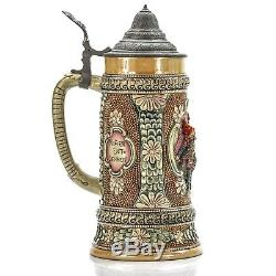 Adolph Diesinger #656 Art Nouveau Antique German Lidded Beer Stein Gnome & Clock