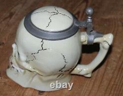 Amazing German Beer Skull Stein Mug Albert Stahl Ernst Bohne Tankard