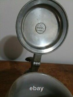 Antique1810-1910 German Oktoberfest Stoneware Lidded Beer Stein