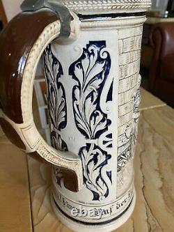 Antique 15 German Beer Stein Beautiful detail and Very Large 2 1/2 Liter