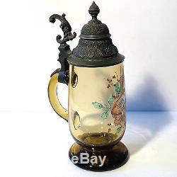 Antique 1800's German Enameled Glass Footed Beer Stein Zum Wohl (To Your Health)