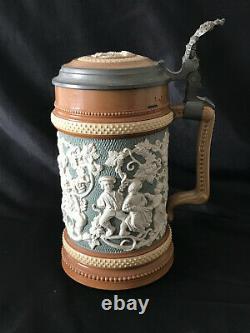 Antique 1800's Mettlach German Beer Stein Pattern 485 Pewter Lid