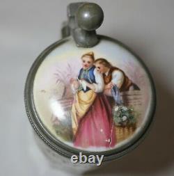 Antique 1800's hand painted porcelain glass pewter German lidded beer stein mug/