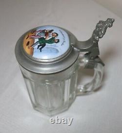Antique 1800's hand painted porcelain glass pewter German lidded beer stein mug