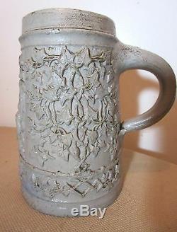 Antique 1800s Westerwald Regensburg German pottery stoneware beer stein mug cup