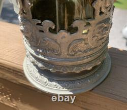 Antique 1880s Blown Yellow Glass German Beer Stein WithPewter Mountings-Fantastic