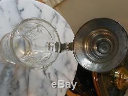 Antique 1885 German Glass/Etched 0.5 Liter Beer Stein
